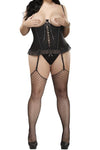 Plus Size Precious Gems Cupless Corset & G-string - Black