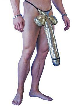 Gold Dong Costume, Male Member Sexy Cosplay Long Schlong