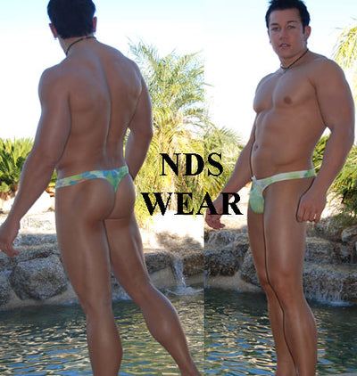 Green Floral Men's Swim Thong