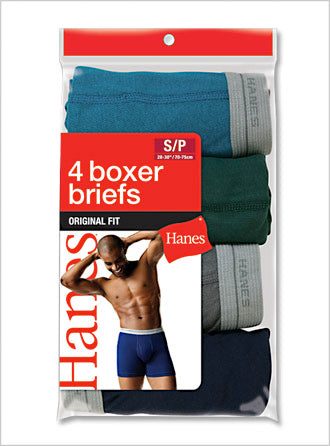 Hanes Mens Dyed Boxer Brief 4 Pack -Closeout