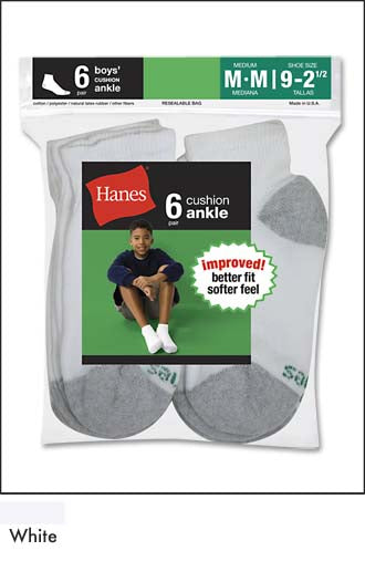 Hanes Boys Cushion Ankle 6pk