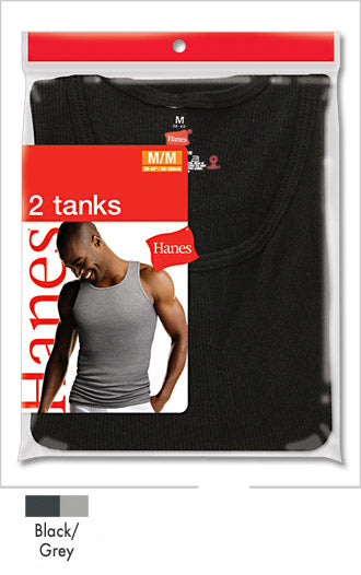 Hanes Ribbed Tank A-shirt 2 Pack Blk-Gry