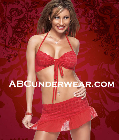 Womens Heart Lace & Mesh Set-Clearance