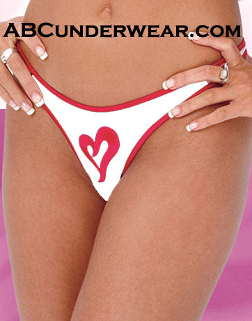 Microfiber Heart Womens Thong - Clearance