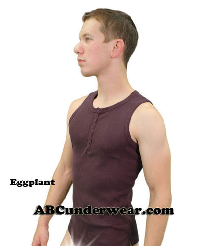 Mens Ribbed Henley 5 Button Tank - Closeouit