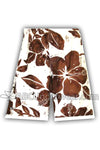 Hibiscus Board Short Swimsuit - White & Brown
