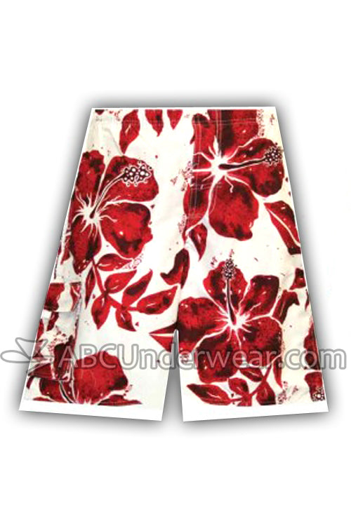 Hibiscus Board Short Swimsuit - White & Red