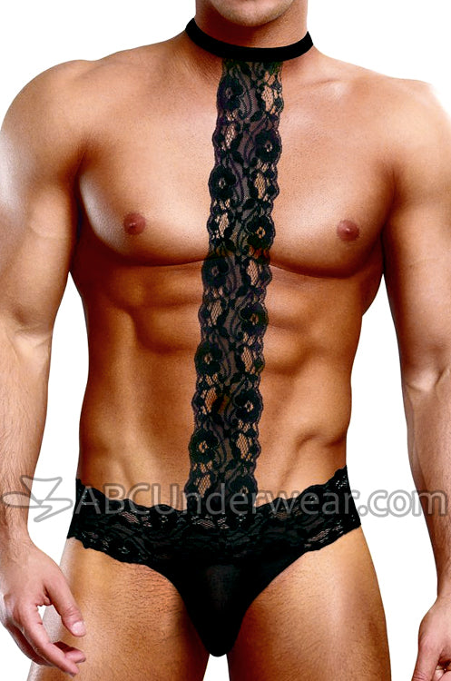 Lace Collar Mens Sheer Thong Underwear