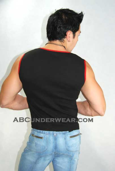 Mens Laceup Black Muscle Shirt - Closeout
