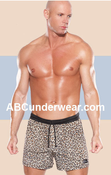 Zakk Leopard Microfiber Boxer Shorts with Drawstring - Clearance