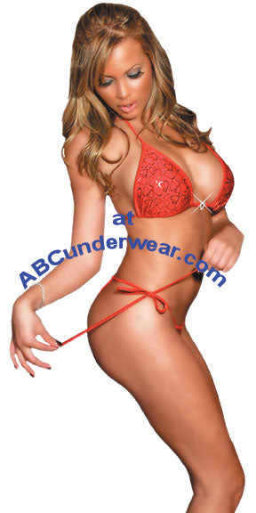 Red Lingerie Rhinestone Set with Tie Sides For Women- Clearance