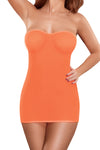 Neon Sheer Mesh Tube Dress & G-String in Orange