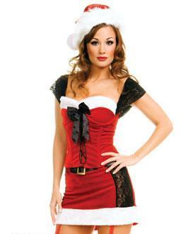 2 piece Lace Up Miss Santa Costume - Closeout