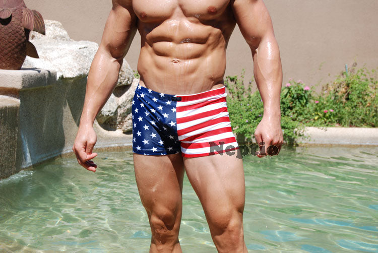 Neptio American Flag Mens Midcut Swimsuit