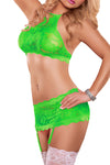 Plus Size Neon Lace Crop Top, Garter Skirt, & G-String Set in Lime Green