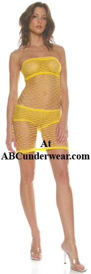 Net Tube Dress with Hotpants & Tube Top Lining