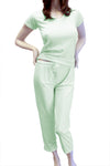 Cute & Comfy Pastel V-Neck Womens Pajama Set - Light Mint Green