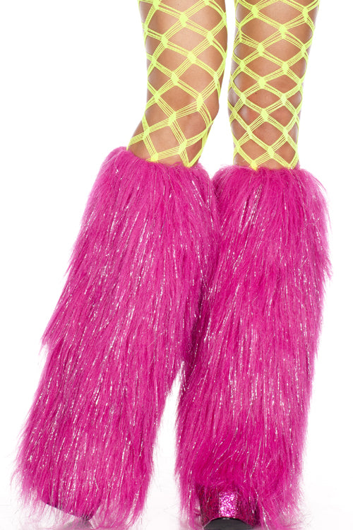 Furry Hot PinkLurex Leg Warmers