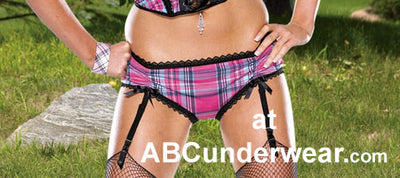 Pink Plaid Panty with Detach Garters