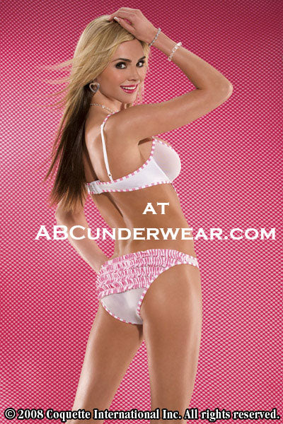 Coquette Pink Pinstripe Teddy -Clearance