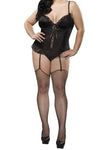 Plus Size Precious Gems Corset & G-String - Black