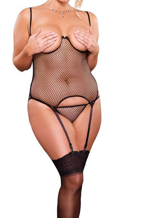 Plus Size Fishnet Cupless Merry Widow & G-String - Black