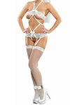 Plus Size Bridal Bands of Lace  Diamond Teddy  - White