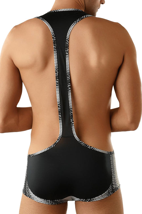 Geometric Dot Mens Microfiber Singlet Trunk