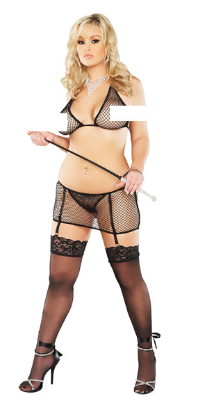 Plus Fishnet Skort Set with Garters