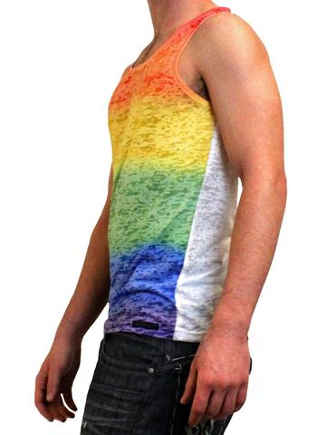 Rainbow Burn-out Men's Tank Top