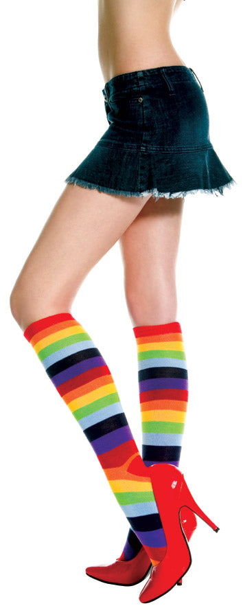 Rainbow Multi-Color Knee Sock