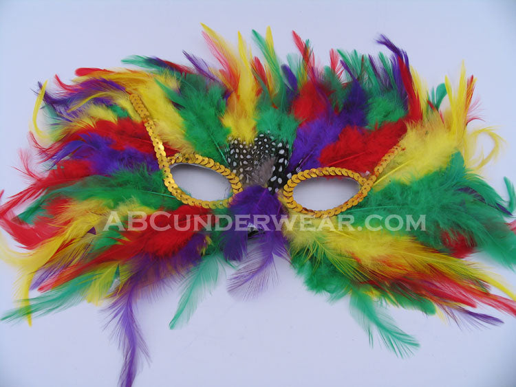 Mardi Gras Rainbow Feather Mask