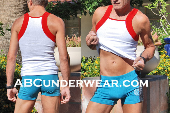 Mens Red Contrast Squarecut Tank 2 pk - Clearance