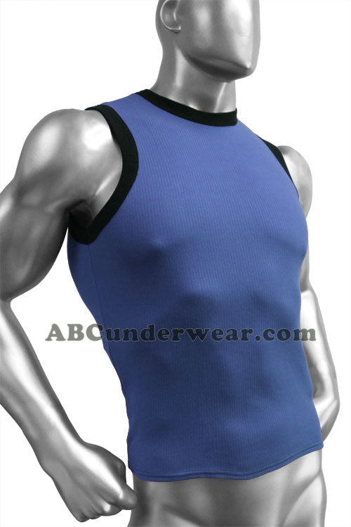 Ribbed Cotton Contrast Mens Muscle Shirt