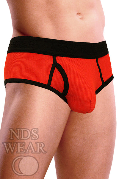 Ribbed Pouch Brief - Red and Black