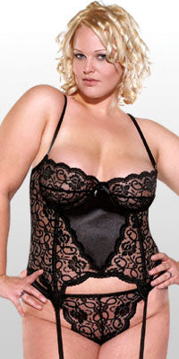 Diva Scallop Lace and Lycra Bustier Set