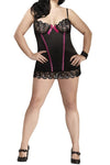 Plus Size Sequin Lace Chemise & G-String - Black