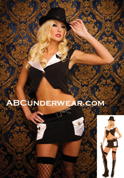 2 Piece Sexy Gangster Costume - Clearance Only