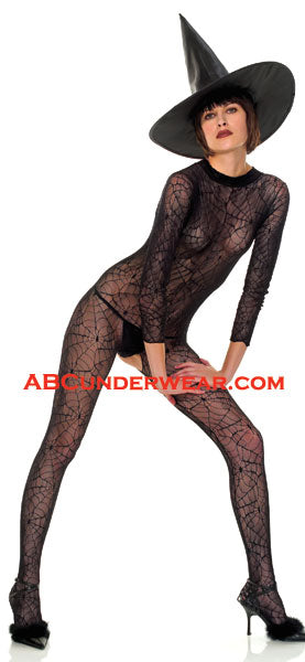 Sexy Witch Spiderweb Outfit With Hat - Closeout