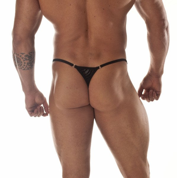 Sheer Black Panther Stripe G-String