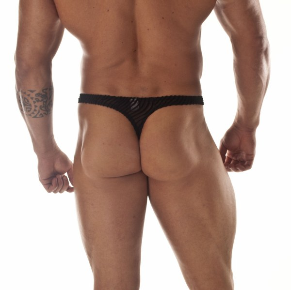 Sheer Black Panther Stripe Thong for Men