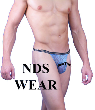 Sheer Blue Leopard Clasp Mens Thong