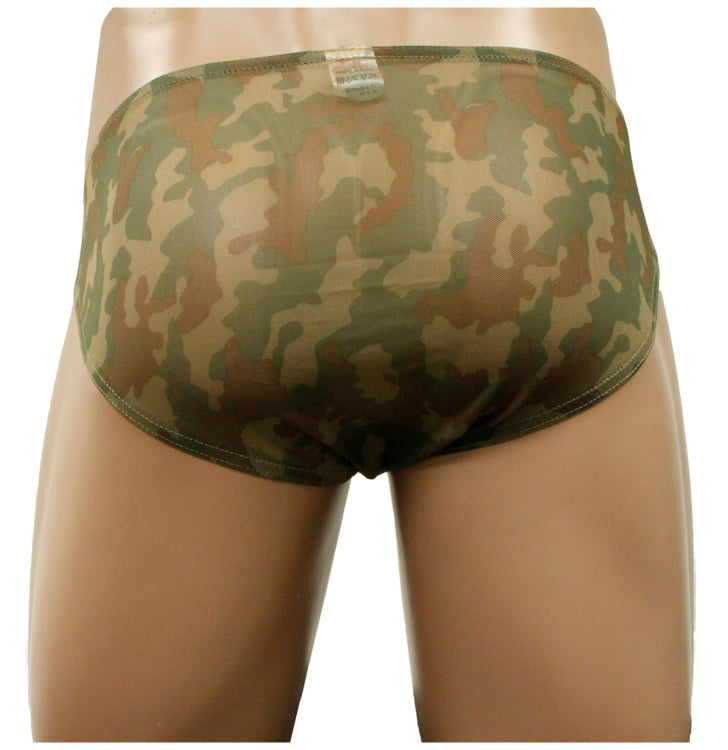 Sheer Green Camo Pouch Bikini Brief Underwear