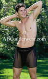 Sheer Black Silk Boxer - Small Clearance