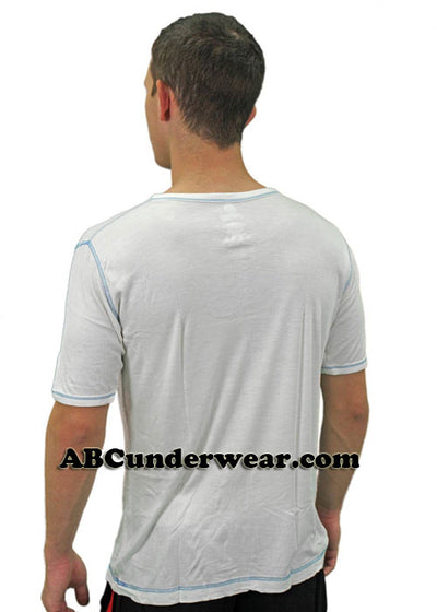 Mens Short Sleeved Front Button Viscose Tee