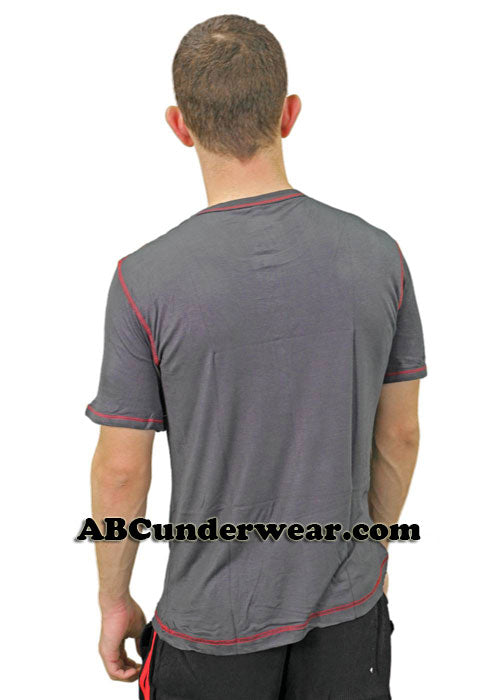 Mens Short Sleeved Front Button Viscose Tee -Closeout