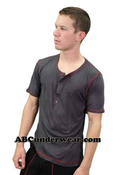 Short Sleeved Front Button Viscose Tee