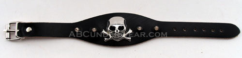 Black Leather Skull Bracelet with Spikes