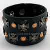 Black Adjustable Wrist Cuff with Crosses