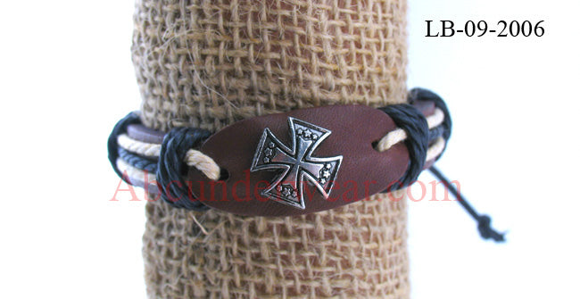 Adjustable Leather Cross Bracelet